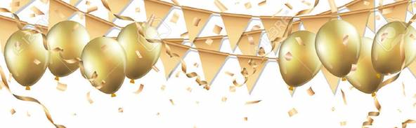 67583727 gold balloons confetti and streamers on white background