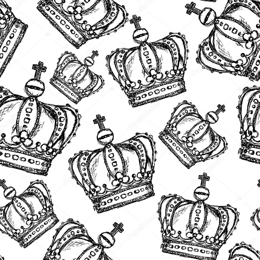 depositphotos 48876737 stock illustration sketch crown vector vintage seamless